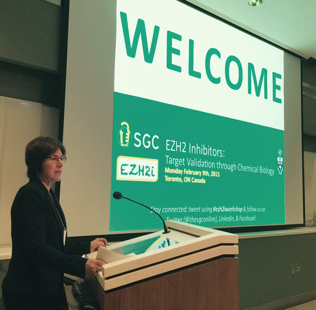 Dr Cheryl Arrowsmith welcomes participants at SGC's workshop on EZH2 inhibitors